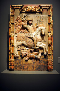 Santiago Matamoros at the Contested Visions in the Spanish Colonial World at the Los Angeles County Museum of Art.The Contested Visions in the Spanish Colonial World is the first exhibition in the U.S. to examine the connection between ancient and colonial artistic traditions in Latin America. By considering the pre-Columbian (Inca and Aztec) origins of Mexico and Peru, the show broadens our understanding of how art and power intersected in the Spanish colonial world. (Hans Gutknecht/Staff Photographer)