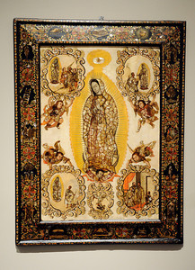 Virgin of Guadalupe and Her Apparitions to Juan Diego at the Contested Visions in the Spanish Colonial World at the Los Angeles County Museum of Art.The Contested Visions in the Spanish Colonial World is the first exhibition in the U.S. to examine the connection between ancient and colonial artistic traditions in Latin America. By considering the pre-Columbian (Inca and Aztec) origins of Mexico and Peru, the show broadens our understanding of how art and power intersected in the Spanish colonial world. (Hans Gutknecht/Staff Photographer)