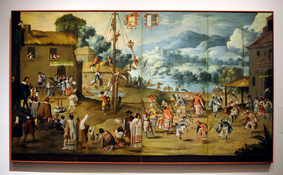 Folding Screen with Indian Wedding and Flying Pole at the Contested Visions in the Spanish Colonial World at the Los Angeles County Museum of Art.The Contested Visions in the Spanish Colonial World is the first exhibition in the U.S. to examine the connection between ancient and colonial artistic traditions in Latin America. By considering the pre-Columbian (Inca and Aztec) origins of Mexico and Peru, the show broadens our understanding of how art and power intersected in the Spanish colonial world. (Hans Gutknecht/Staff Photographer)