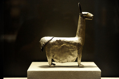 Long-Haired Llama or Alpaca at the Contested Visions in the Spanish Colonial World at the Los Angeles County Museum of Art .The Contested Visions in the Spanish Colonial World is the first exhibition in the U.S. to examine the connection between ancient and colonial artistic traditions in Latin America. By considering the pre-Columbian (Inca and Aztec) origins of Mexico and Peru, the show broadens our understanding of how art and power intersected in the Spanish colonial world. (Hans Gutknecht/Staff Photographer)