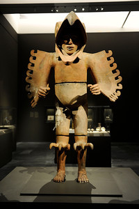 Figure of Eagle Warrior at the Contested Visions in the Spanish Colonial World at the Los Angeles County Museum of Art .The Contested Visions in the Spanish Colonial World is the first exhibition in the U.S. to examine the connection between ancient and colonial artistic traditions in Latin America. By considering the pre-Columbian (Inca and Aztec) origins of Mexico and Peru, the show broadens our understanding of how art and power intersected in the Spanish colonial world. (Hans Gutknecht/Staff Photographer)