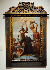 Martydom of Father Sebastian de Monroy at the Contested Visions in the Spanish Colonial World at the Los Angeles County Museum of Art.The Contested Visions in the Spanish Colonial World is the first exhibition in the U.S. to examine the connection between ancient and colonial artistic traditions in Latin America. By considering the pre-Columbian (Inca and Aztec) origins of Mexico and Peru, the show broadens our understanding of how art and power intersected in the Spanish colonial world. (Hans Gutknecht/Staff Photographer)
