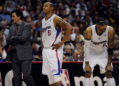Clipper Head Coach Vinny Del Negro,  Caron Butler(5) and Kenyon Martin (2) show their frustration late in the th quarter. The Lakers defeated the Clippers at home 113 to 108 during a cross town rivalry game at Staples Center in Los Angeles, CA 4/4/2012(John McCoy/Staff Photographer)