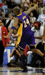 Los Angeles Lakers guard Kobe Bryant (24) celebrates in the final moments. The Lakers defeated the Clippers at home 113 to 108 during a cross town rivalry game at Staples Center in Los Angeles, CA 4/4/2012(John McCoy/Staff Photographer)