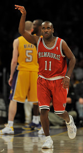 Earl Boykins celebrates one of his 22 points. The Lakers were defeated by the Milwaukee Bucks 98 to 79 in a game played at Staples Center in Los Angeles, CA 12-21-2010. (John McCoy/staff photographer)