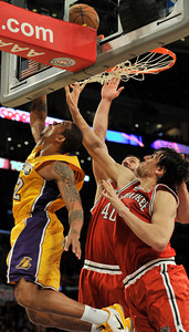 Shannon Brown does a reverse layup. The Lakers were defeated by the Milwaukee Bucks 98 to 79 in a game played at Staples Center in Los Angeles, CA 12-21-2010. (John McCoy/staff photographer)