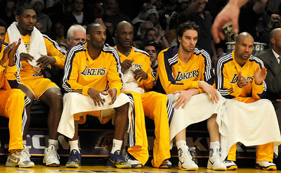 The entire starting 5 for the Lakers sat on the bench for a long stretch of time in the 2nd quarter. The Lakers played host to the Milwaukee Bucks in a game played at Staples Center in Los Angeles, CA 12-21-2010. (John McCoy/staff photographer)