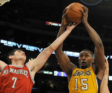 The Lakers played host to the Milwaukee Bucks in a game played at Staples Center in Los Angeles, CA 12-21-2010. (John McCoy/staff photographer)