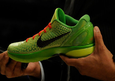 Preview of the Kobe Bryant shoe that he plans to wear on Christmas Day. The Lakers played host to the Milwaukee Bucks in a game played at Staples Center in Los Angeles, CA 12-21-2010. (John McCoy/staff photographer)