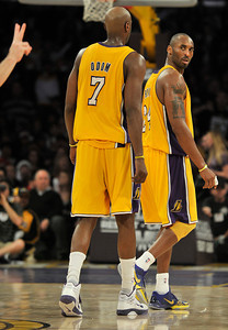Kobe Bryant looks back and gives a choice few words to the ref, who then called a double technical foul on the Laker star and ended his evening. The Lakers were defeated by the Milwaukee Bucks 98 to 79 in a game played at Staples Center in Los Angeles, CA 12-21-2010. (John McCoy/staff photographer)
