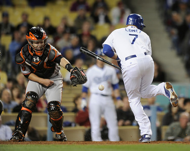 James Loney is hit by a pitch in the 5th inning. The Dodgers hosted the San Francisco Giants in a game played at Dodger Stadium in Los Angeles, CA 5-17-2011. (John McCoy/staff photographer)