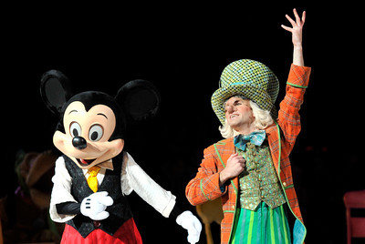 """Mickey Mouse and the Mad Hatter. The Staples Center is featuring Disney on Ice's new skating show, """"Let's Celebrate."""" It features 50 of Disney's most beloved characters, including Mickey and Minnie Mouse. Los Angeles, CA 12-15-2010. (John McCoy/staff photographer)"""
