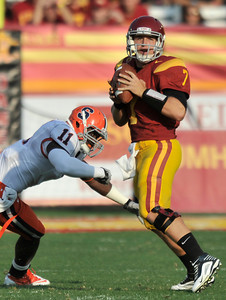 Southern California quarterback Matt Barkley (7) in the first half. The USC Trojans defeated the Orangemen of Syracuse 38 to 17 in a game played at the Coliseum in Los Angeles, CA. 9-17-2011. (John McCoy/Staff Photographer)