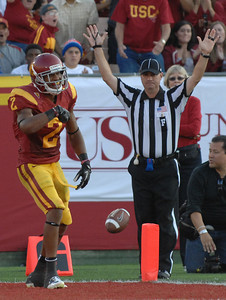 Southern California wide receiver Robert Woods (2) after scoring a TD in the 2nd quarter. The USC Trojans played the Orangemen of Syracuse in a game played at the Coliseum in Los Angeles, CA. 9-17-2011. (John McCoy/Staff Photographer)