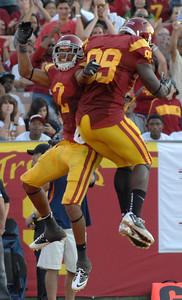 Southern California wide receiver Robert Woods (2) Christian Thomas (89) celebrate after Woods scored a TD in the 2nd quarter. The USC Trojans played the Orangemen of Syracuse in a game played at the Coliseum in Los Angeles, CA. 9-17-2011. (John McCoy/Staff Photographer)