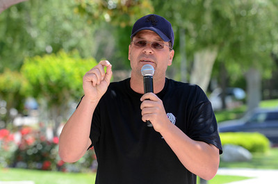 """Dave Graybill, creator of the Pink Heals Tour, speaks at at Henry Mayo Newhall Memorial Hospital. The tour was at the Hospital to show support for women that have been affected by cancer Tuesday, May 10, 2011. The Guardians of the Ribbon"""" are firefighters, police officers and community leaders from around the country dedicated to the fight against all types of cancer affecting women. (Hans Gutknecht/Staff Photographer)"""