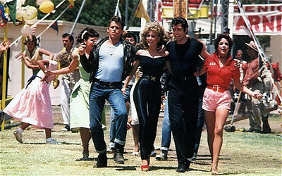"Jeff Conaway, Olivia Newton-John, John Travolta and Stockard Channing in ""Grease."""