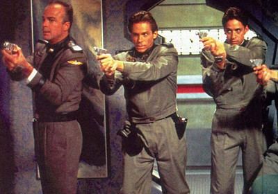 "Jeff Conaway, center, in ""Babylon 5"""