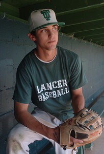 Thousand Oaks High School baseball pitcher, Matt Bywater,  in the dugout before practice on Wednesday, May 16, 2007.  (Tina Burch/Staff Photographer)