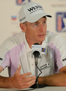 Jim Furyk talks to the media after his round. The Chevron World Challenge put Sherwood Country Club on display during the Pro-am round. Thousand Oaks, CA 11/30/2011(John McCoy/Staff Photographer)