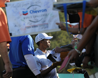 Tiger Woods stops to sign autographs after finishing his round. The Chevron World Challenge put Sherwood Country Club on display during the Pro-am. Thousand Oaks, CA 11/30/2011(John McCoy/Staff Photographer)