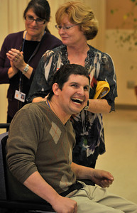 New Horizons in North Hills teamed up with Toastmasters International to provide developmentaly disabled adults the opprotunity to participate in speech making. 24 clients from New Horizons gathered for dinner and speeches in the dining room on the topic of Thanksgiving. North Hills, CA.11-17-2010. (John McCoy/staff photographer)