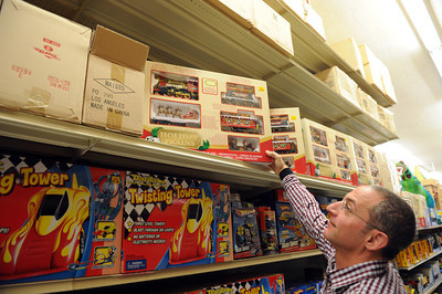 Rocco Rich, Studio City, shops for toys for his two sons at Tom's Toys in Montrose. (Hans Gutknceht/Staff Photographer)