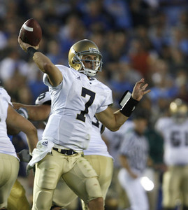 Notre Dame's Jimmy Clausen, QB, looks to throw the ball during the second half of the game on Saturday, Oct. 6, 2007 against UCLA. (Edna T. Simpson)