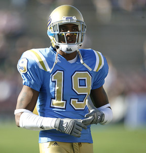 UCLA's Dominique Johnson stands on the field during the pregame warmups on Saturday, Oct. 6, 2007 against Notre Dame at Rose Bowl. (Edna T. Simpson)