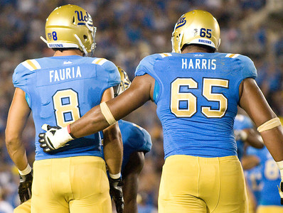 UCLA tight end Joseph Fauria celebrates with UCLA offensive tackle Mike Harris after Fauria scored the second touchdown of the game. UCLA faced San Jose State on Saturday, Sept. 10, 2011 at the Rose Bowl in Pasadena, Calif. during the Bruins' home opener. At the half, UCLA leads SJSU 14-7, with touchdowns by running back Johnathan Franklin and UCLA tight end Joseph Fauria.  (Maya Sugarman/Staff Photographer)