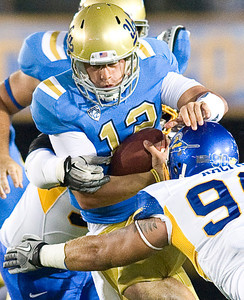 UCLA quarterback Richard Brehaut UCLA faced San Jose State on Saturday, Sept. 10, 2011 at the Rose Bowl in Pasadena, Calif. during the Bruins' home opener. At the half, UCLA leads SJSU 14-7, with touchdowns by running back Johnathan Franklin and UCLA tight end Joseph Fauria.  (Maya Sugarman/Staff Photographer)