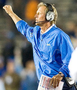 Coach Rick Neuheisel led the Bruins' to their first win of the season at UCLA's home opener. UCLA, now 1-1, will face Texas on Saturday. UCLA defeated San Jose State 27-17 on Saturday, Sept. 10, 2011 at the Rose Bowl in Pasadena, Calif. during the Bruins' home opener.  (Maya Sugarman/Staff Photographer)