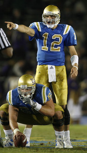 UCLA's Patrick Cowan calls a play during the game on Saturday, September 23, 2007 against Washington at Rose Bowl. (Edna T. Simpson)