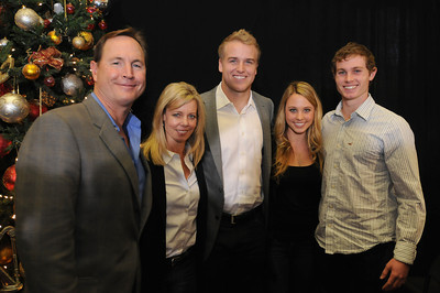The Barkley Family (l-r)  Parents Les and Bev, Matt, sister Lainy and brother Sam. USC Quarterback Matt Barkley announced his decision to stay in school for his Senior year rather than go into the NFL draft. The announcement was made at Heritage Hall, surrounded by Heisman Trophies, and underneath a Christmas tree. Los Angeles, CA 12/22/2011(John McCoy/Staff Photographer)