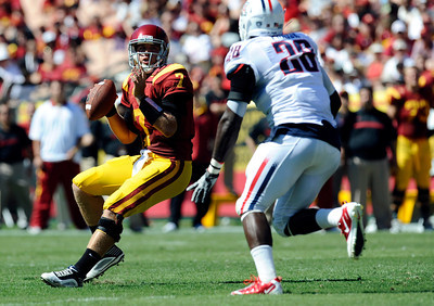 USC quarterback Matt Barkley #7 looks to pass during their PAC 12 conference game against Arizona at the Los Angeles Memorial Coliseum in Los Angeles, CA Saturday October 1, 2011. USC beat Arizona 48-41.(Hans Gutknecht/Staff Photographer)