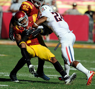 USC's  T.J. McDonald #7 grabs an onside kick late in the 4th quarter during their PAC 12 conference game against Arizona at the Los Angeles Memorial Coliseum in Los Angeles, CA Saturday October 1, 2011. USC beat Arizona 48-41. (Hans Gutknecht/Staff Photographer)