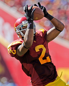 USC's  Robert Woods #2 hauls in a pass in the 2nd quarter during their PAC 12 conference game against Arizona at the Los Angeles Memorial Coliseum in Los Angeles, CA Saturday October 1, 2011. (Hans Gutknecht/Staff Photographer)