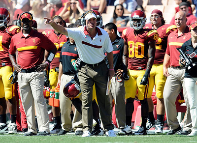 USC coach Lane Kiffin argues about a sideline interference penalty during their PAC 12 conference game against Arizona at the Los Angeles Memorial Coliseum in Los Angeles, CA Saturday October 1, 2011. (Hans Gutknecht/Staff Photographer)