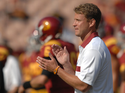Trojan head coach Lane Kiffin on the sidelines. USC hosted the Utah Utes in a game played at the Coliseum in Los Angeles CA. 9-10-2011. (John McCoy/Staff Photographer)