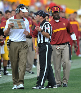 Lane Kiffin has a word with the officials during the game. USC defeated the Utah Utes 23 to 14 in a game played at the Coliseum in Los Angeles CA. 9-10-2011. (John McCoy/Staff Photographer)