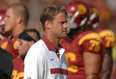 Lane Kiffen on the sidelines as USC defeated the Utah Utes 23 to 14 in a game played at the Coliseum in Los Angeles CA. 9-10-2011. (John McCoy/Staff Photographer)