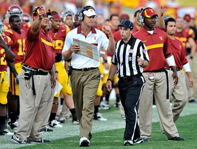 Lane Kiffin has a word with officials during the game. USC defeated the Utah Utes 23 to 14 in a game played at the Coliseum in Los Angeles CA. 9-10-2011. (John McCoy/Staff Photographer)