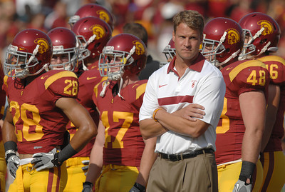Lane Kiffin on the sidelines as USC hosted the Utah Utes in a game played at the Coliseum in Los Angeles CA. 9-10-2011. (John McCoy/Staff Photographer)