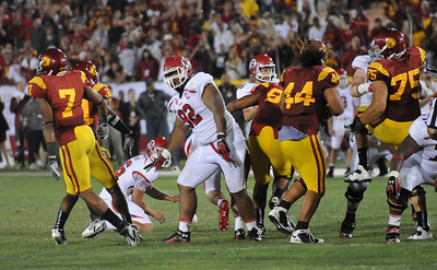 USC blocks a last second field goal to win the game. USC defeated the Utah Utes 17 to 14 in a game played at the Coliseum in Los Angeles CA. 9-10-2011. (John McCoy/Staff Photographer)