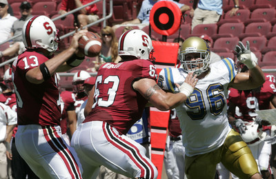 Ucla Nikola Dragovic looks to get pass Stanford Chris Marinelll during the game on Saturday, September 1st, 2007 (Edna T Simpson)