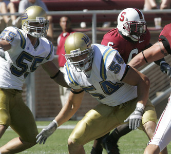 Ucla # 55 Korey Bosworth and #54 Kyle Bosworth makes defensive moves during the victory game on Saturday, September 1st, 2007 against Stanford. (Edna T. Simpson)