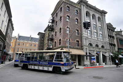 A tram drives down a rebuilt section of the New York Backlot. Universal Studios Hollywood re-opened its backlot that was rebuilt after an extensive fire burned much of it to the ground in June of 2008. Universal City, CA. 5/27/2010. photo by John McCoy/staff photographer