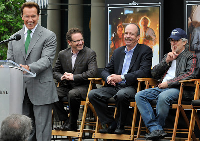 Gov. Arnold Schwarzenegger jokes about some of the movies that were saved by the fire departmet, while Steven Speilberg joked that some of them should have burned. Universal Studios Hollywood re-opened its backlot that was rebuilt after an extensive fire burned much of it to the ground in June of 2008. Universal City, CA. 5/27/2010. photo by John McCoy/staff photographer
