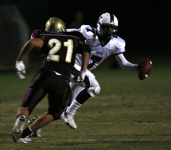 Venice's Richard  Ragland looks for some running room in front of Oaks Christian's Zach Stout during the game on Friday, September 28, 2007 at Oaks Christian High Schoolo. (Edna T. Simpson)
