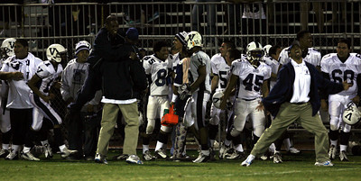 Venice players and coaches celebrates on the  sidelines during the fourth quarter of the victory game on Friday, September 28, 2007 against Oaks Christian High  School. (Edna T. Simpson)